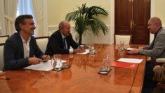 José Manuel López, el ministro Juan Carlos Campo reunidos con Unai Sordo, líder de CCOO. (Foto: Ministerio)