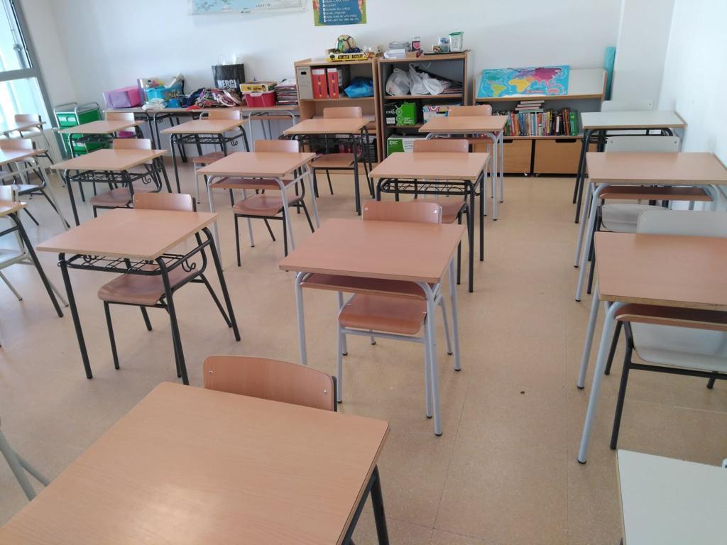 Actual organización del aula de 4º de Primaria en este colegio de Badajoz..
