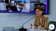 La vicepresidenta primera del Gobierno, Carmen Calvo, en comparecencia tras el Consejo de Ministros.