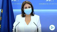 La portavoz del PSOE en el Congreso, Adriana Lastra, este martes en respuesta a OKDIARIO.