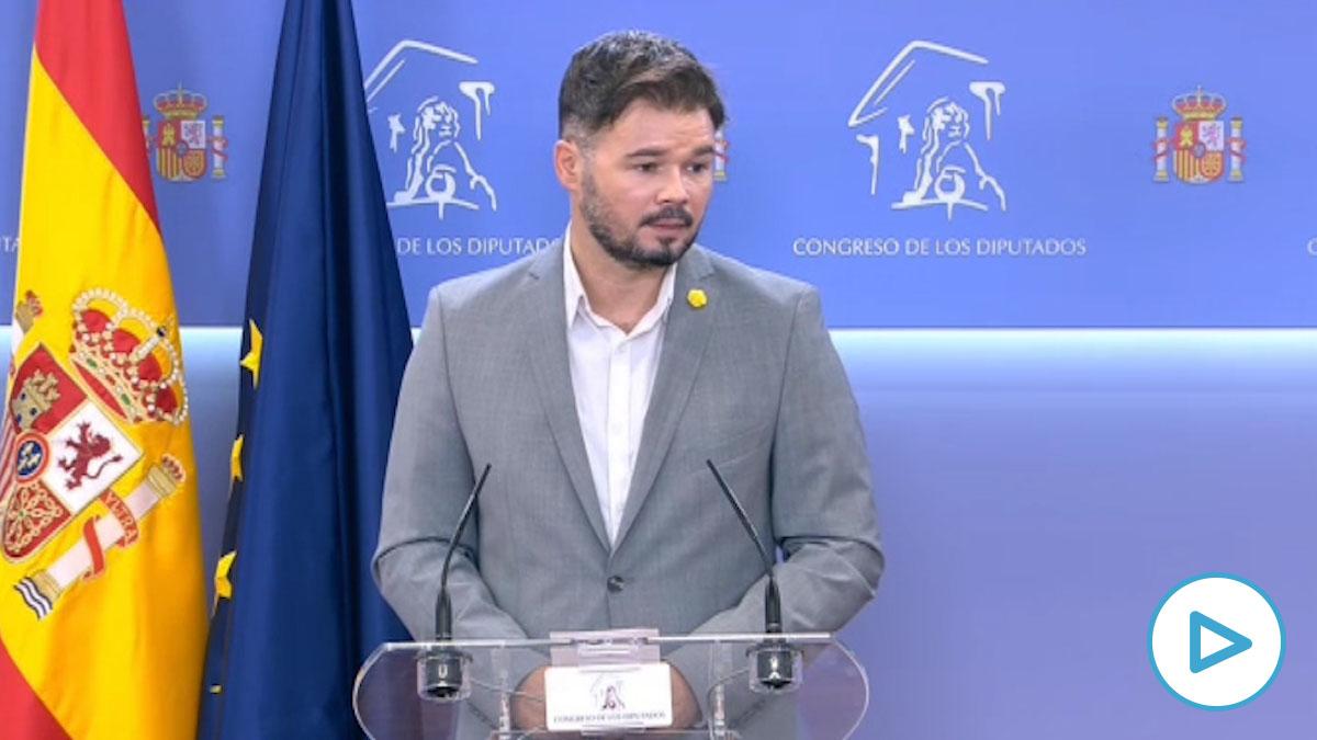 """Rufián cree que """"la guerra sucia del PP da incluso para ilegalizar al partido"""""""