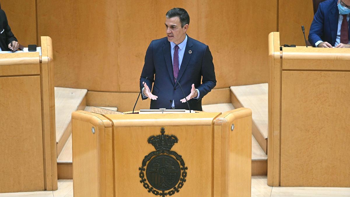 Pedro Sánchez en su comparecencia en el Senado. Foto: EFE
