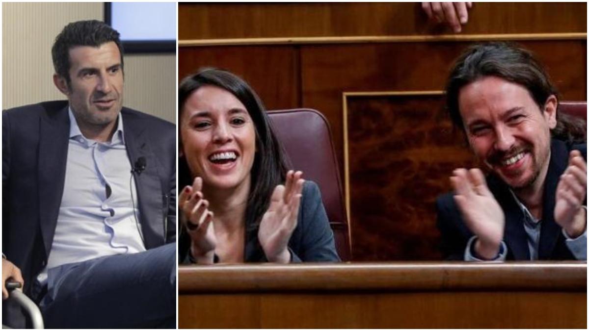 Luis Figo, Irene Montero y Pablo Iglesias.