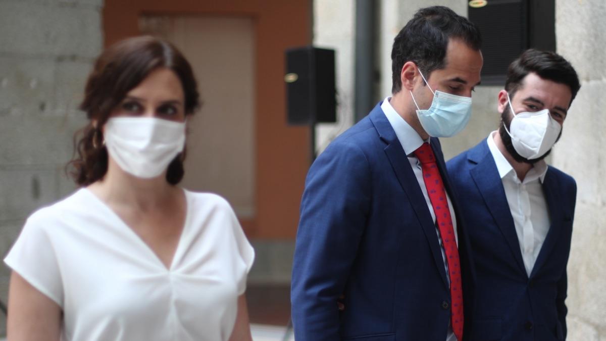 Isabel Díaz Ayuso, Ignacio Aguado y César Zafra, en imagen reciente. (Foto: EP)