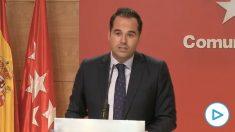 Ignacio Aguado rechaza ser presidente de Madrid con una moción de censura apoyada por PSOE, Más Madrid y Podemos.