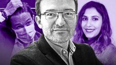 José Manuel Calvente junto a Pablo Iglesias y Dina Bousselham.
