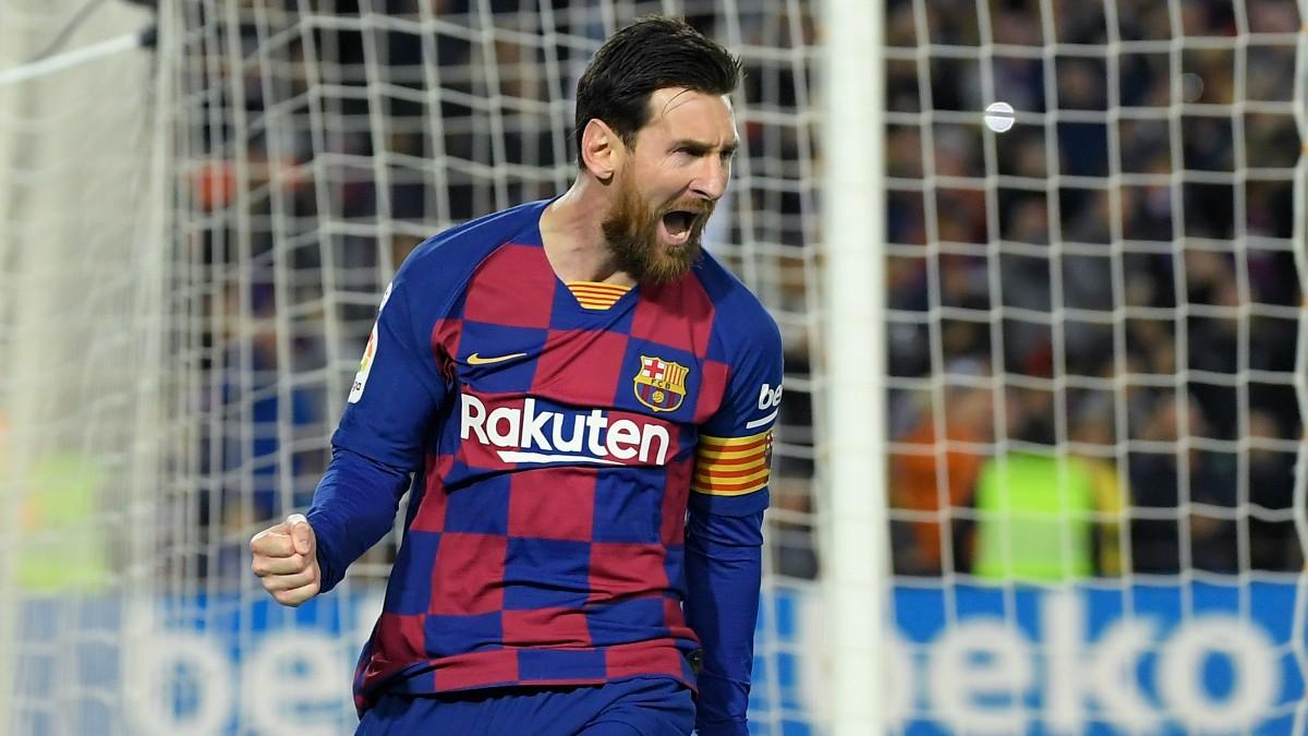 Leo Messi celebra un gol con el Barça (AFP).