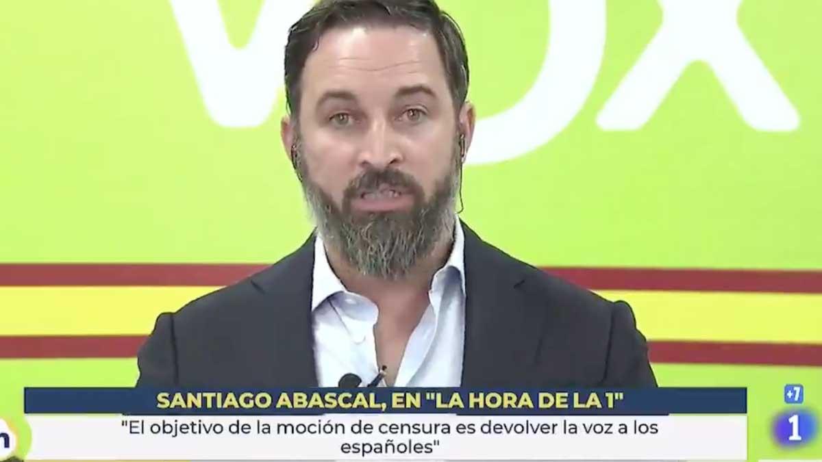 El líder de Vox durante un entrevista en la 1 de TVE. Foto: Twitter
