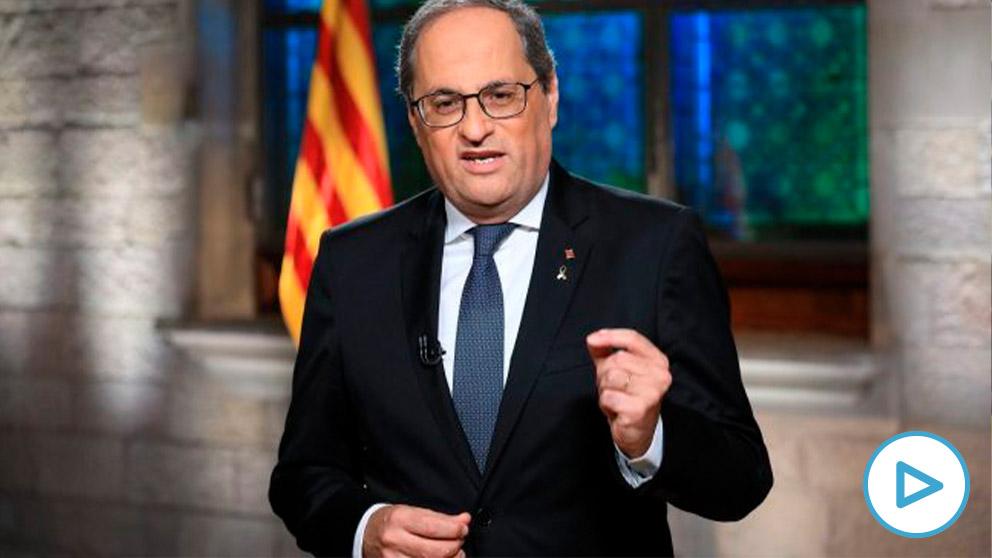 Quim Torra durante la emisión del mensaje institucional de la Diada en TV3.