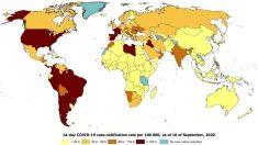 Mapa del riesgo de coronavirus en el mundo, con España en tercera posición.