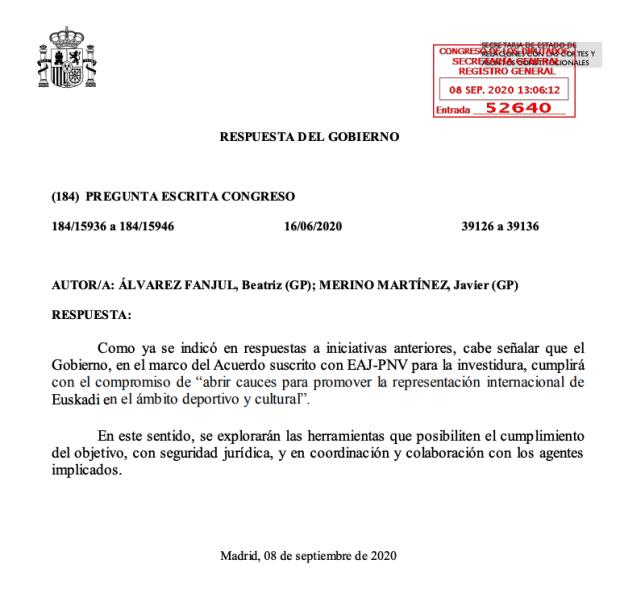 Sánchez paga el apoyo del PNV: se compromete a que la selección vasca de fútbol compita oficialmente