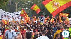 Los manifestantes congregados en Madrid.