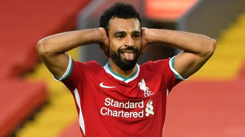 Mohamed Salah celebra un gol con el Liverpool. (Getty)