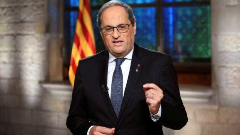 Quim Torra, presidente de la Generalitat, durante su mensaje de la Diada 2020. (Foto: Efe)