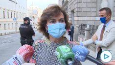 Carmen Calvo destaca el «ambiente razonable» tras su reunión con la 'popular' Cuca Gamarra
