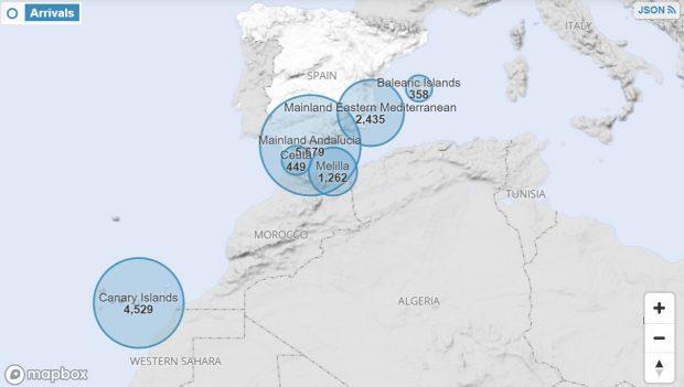 Llegadas a España – Datos: ACNUR