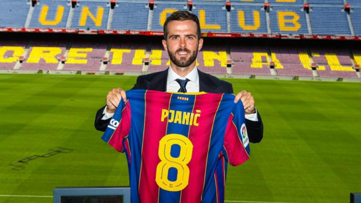 Miralem Pjanic presentado como nuevo jugador del Barça. (fcbarcelona.cat)