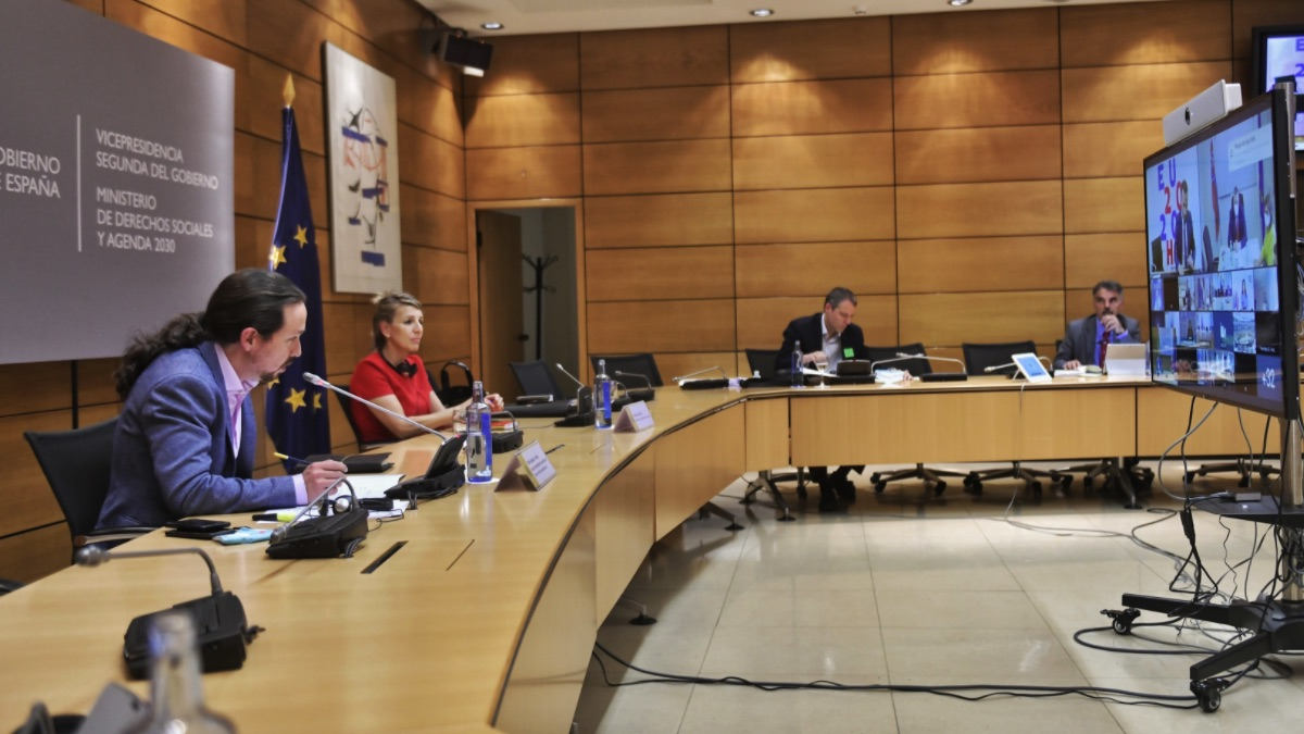 Pablo Iglesias en el Ministerio de Derechos Sociales y Agenda 2030. (Foto: EP)