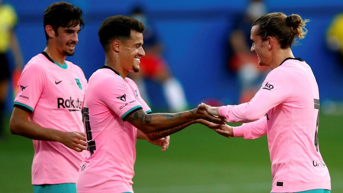 Coutinho y Griezmann celebran un gol. (EFE)