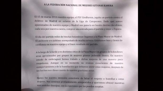 La carta de arrepentimiento de los hinchas del PSV a las gitanas que humillaron en la Plaza Mayor