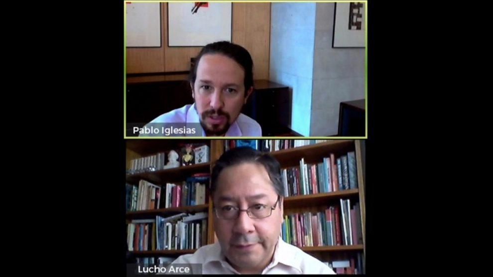 Reunión digital entre Pablo Iglesias y Luis Arce.
