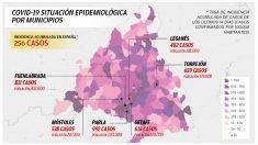 Mapa de la incidencia del coronavirus en el 'cinturón rojo' de Madrid.