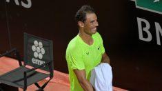 Rafa Nadal, tras ganar a Carreño en Roma (AFP).