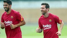 Leo Messi y Luis Suárez en el entrenamiento del 17 de septiembre. (fcbarcelona.es)