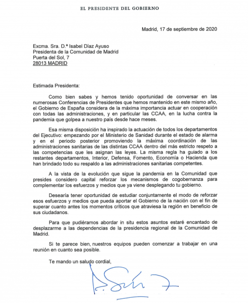 carta Sánchez Ayuso
