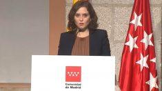 Isabel Díaz Ayuso, presidenta de la Comunidad de Madrid, en rueda de prensa.