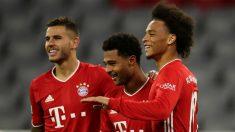 Sané, Gnabry y Lucas Hernández celebran un gol al Schalke. (Getty)