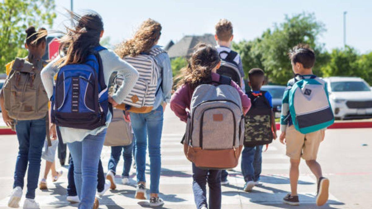 Alumnos yendo a la escuela.