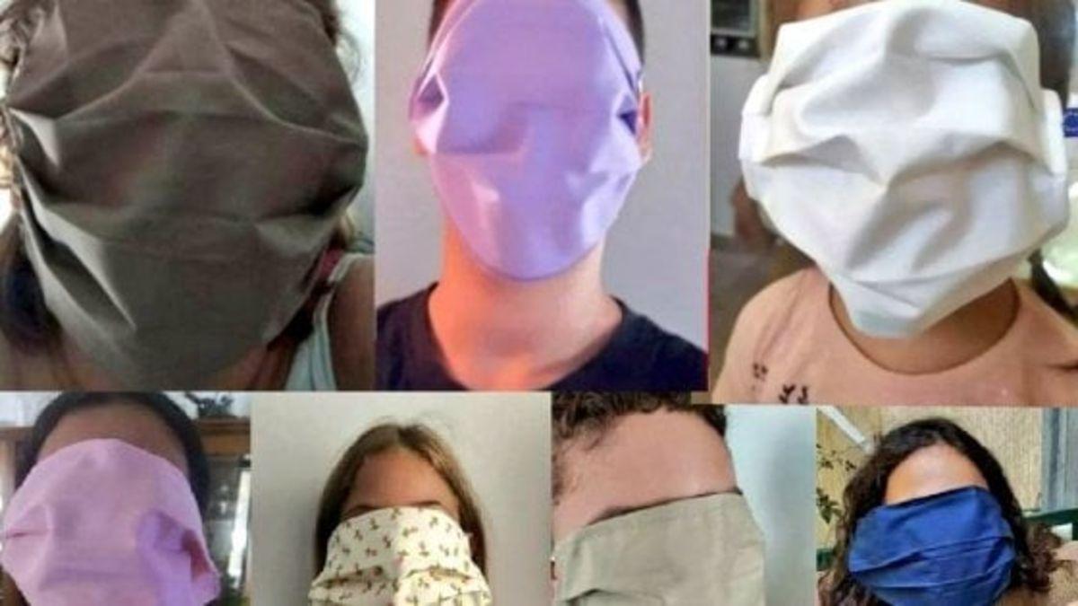 Las mascarillas de los estudiantes griegos, que cubren toda la cara / Foto: Twitter