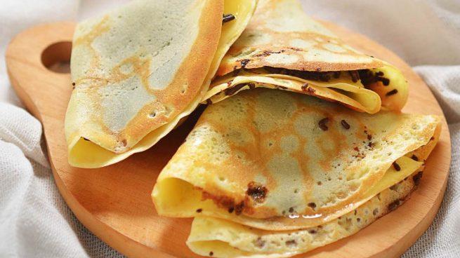 Crepes de espinacas, queso de cabra y trigo sarraceno