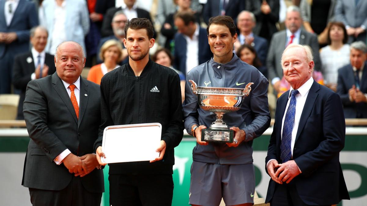 Thiem y Nadal, tras la final de Roland Garros 2019. (Getty)