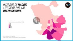 Mapa de los distritos afectados por las restricciones.