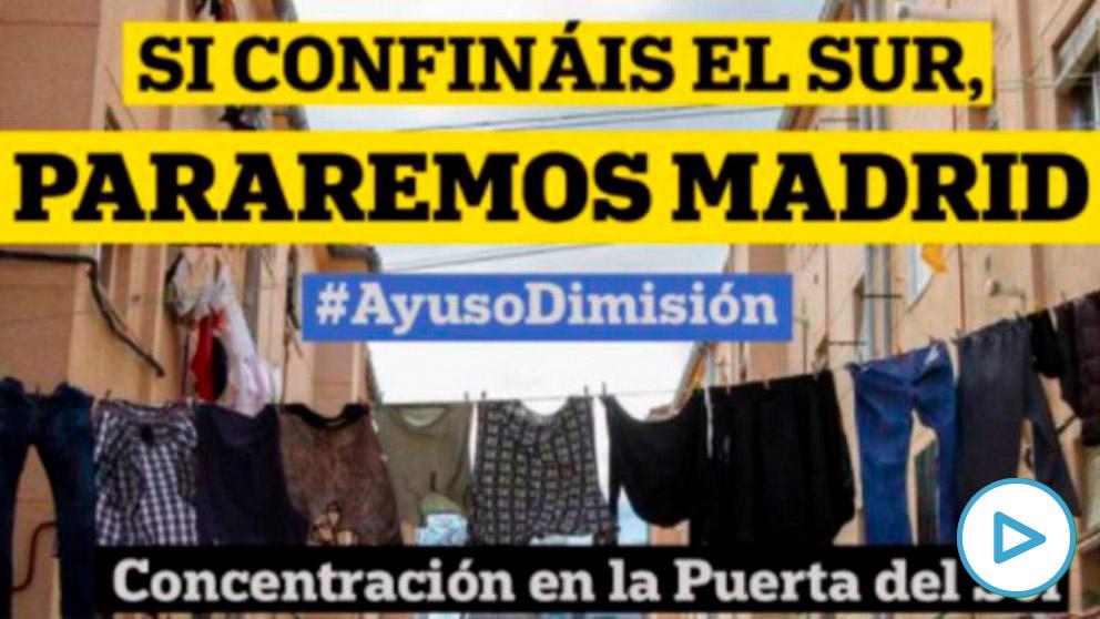 Cartel de la convocatoria de la manifestación contra Isabel Díaz Ayuso.