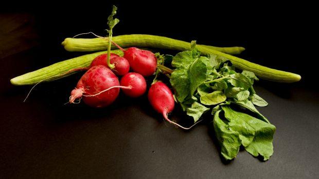 Rojo y verder, verduras