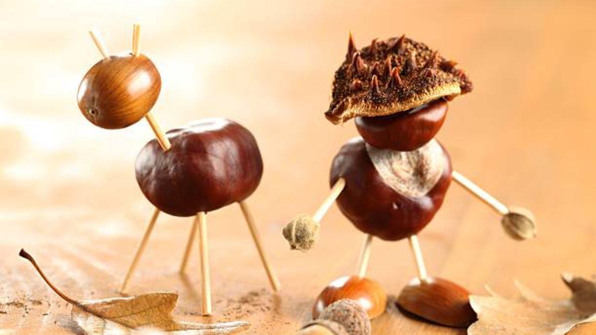 Distintas manualidades de otoño para hacer con castañas