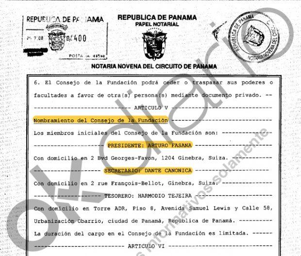Escritura pública de constitución de la Fundación Lucum en los que figura el nombramiento de Dante Canonica y Arturo Fasana.