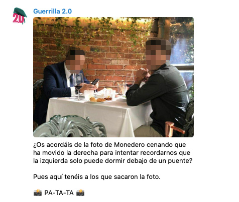 La guerrilla podemita anima a agredir a los autores de la foto de Monedero en el restaurante cayetano