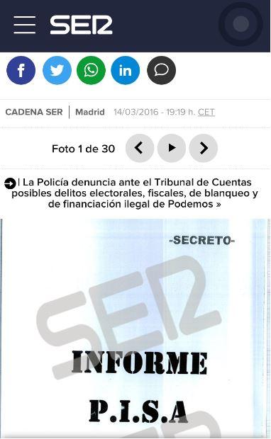 Informe P.I.S.A difundido por la SER en exclusiva