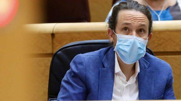 El vicepresidente segundo del Gobierno y ministro de Derechos Sociales y Agenda 2030, Pablo Iglesias, durante una sesión de control al Gobierno en el Senado