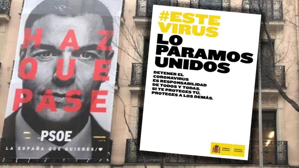 Campañas de 'Haz que pase' (PSOE) y 'Este virus lo paramos unidos' (Mº de Sanidad).