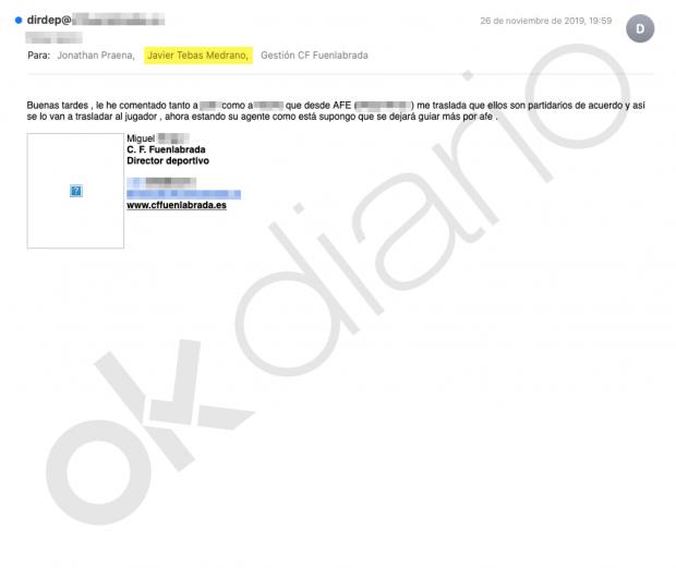 Los emails que demuestran que Tebas 'manejó' al Fuenlabrada estando en Segunda División