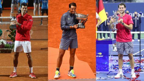 Djokovic, Nadal y Thiem, grandes favoritos al título en Roland Garros. (Getty)