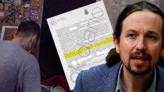 Un okupa y el atestado policial en el que se cita al vicepresidente del Gobierno, Pablo Iglesias.