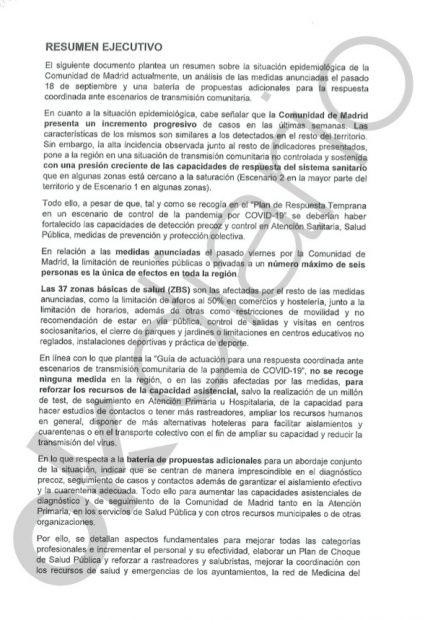 Este es el documento que el Gobierno aceptó el martes con las nuevas medidas de Madrid que ahora critica