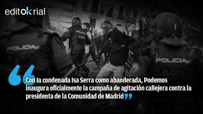 Violento primer ensayo callejero de Podemos contra Ayuso