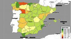 Mapa de la 'razón de tasas' del Instituto Carlos III, que muestra signos positivos para la evolución de Madrid.